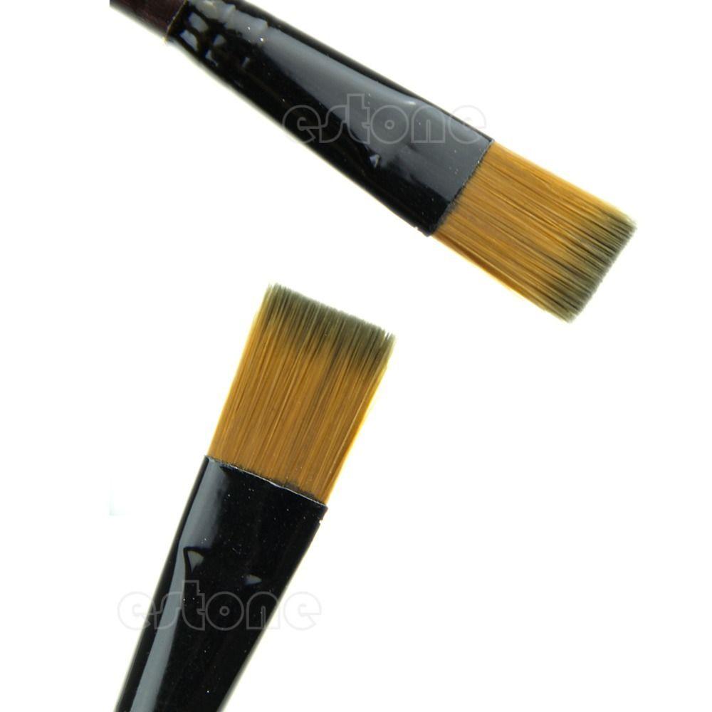 New 6 Brown Tip Nylon Paint Brushes For Art Artist Supplies