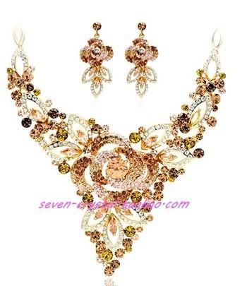 set di orecchini (5 * 2cm) orecchini di champagne color diamond flower wedding (38 + extra 4cm) (myy