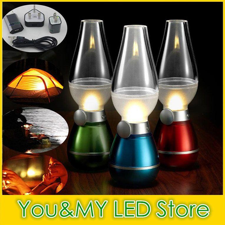 2016 Nouveau LED Blow Light Table Lampe De Bureau Lampe 0.4 W Vintage Lampe De Kérosène Style Réglable Luminosité Économie D'énergie Nuit USB Rechargeable