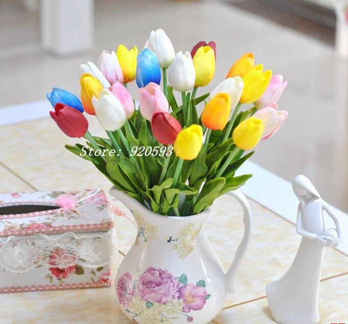 도매 무료 배송 21PCS / LOT pu 미니 튤립 꽃 진짜 터치 결혼식 꽃 인공 꽃 실크 꽃 가정 장식