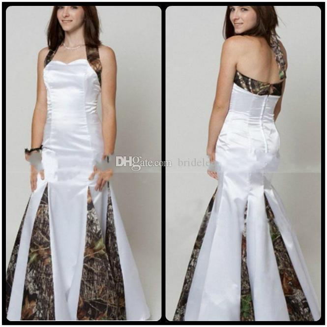 Mermaid Camo Свадебные платья 2020 Сексуальный Halter Шеи на заказ Плюс Размер Сатин Свадебные платья Vestidos de Novia