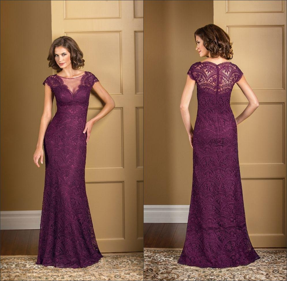 Plus Size Plum Lace Mermaid Mother Of The Bride Dresses Long Vintage Sheer Jewel Neck Short