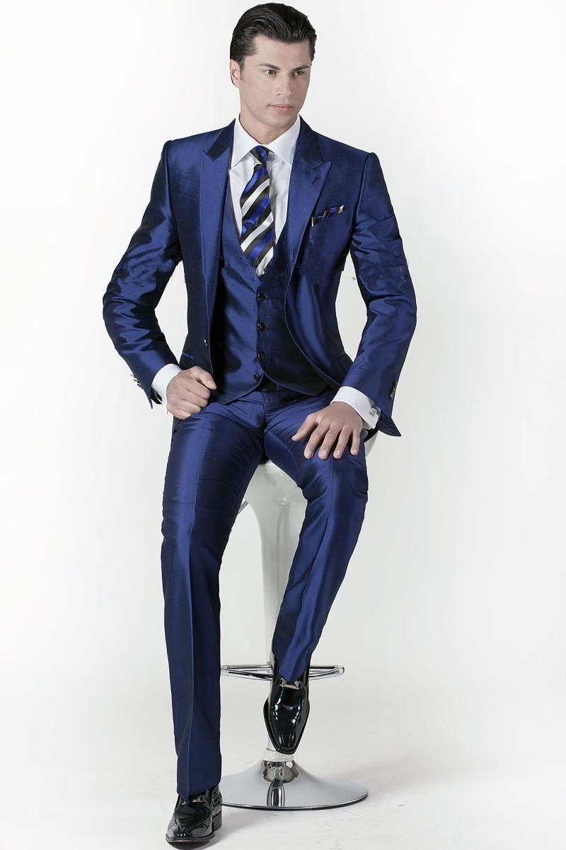 البدلة مخصص العريس البدلات الرسمية الذروة طية صدر السترة الرجال لامعة الأزرق الداكن وصيف / بذلات العريس زفاف / حفلة موسيقية (سترة + سروال + التعادل + الصدرية)