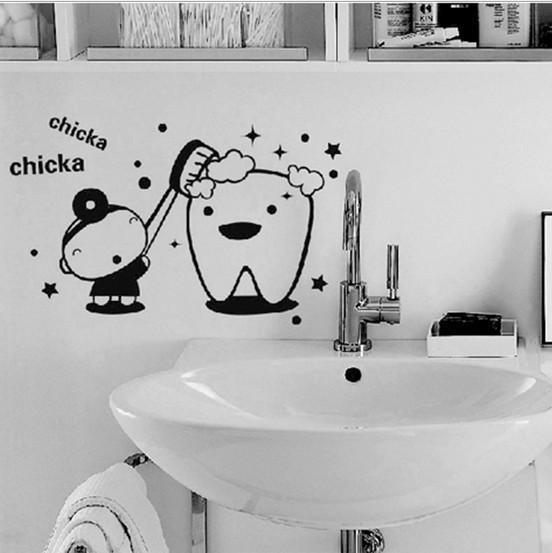 Chicka Chicka чистить зубы ПВХ съемный ванная комната наклейка искусства DIY стикер стены Home Decor мгновенный Home Decor стикер стены