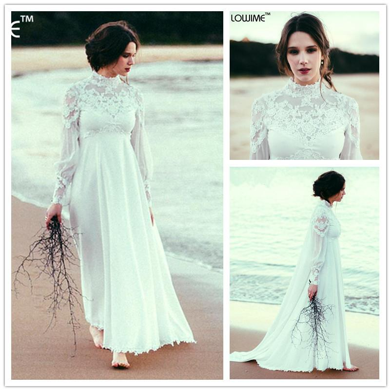 Empire Waist Bohemian Maternity Wedding Dress High Neck Long Sleeves ...