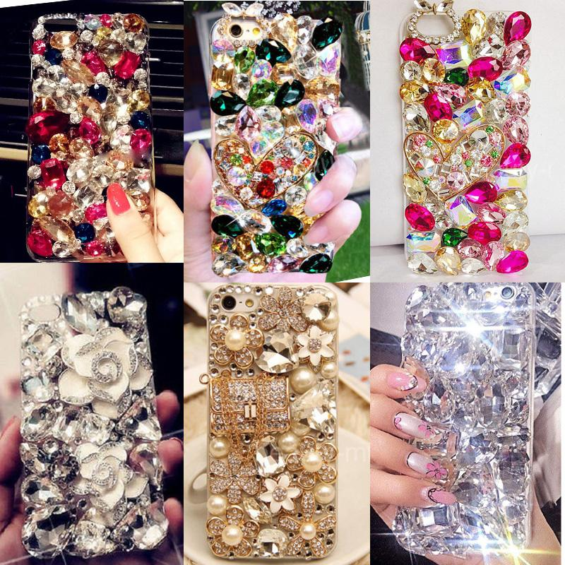 Rhinestones cajas del teléfono de calidad superior para iphone 7 grandes cuentas de piedras 3d bling cristal duro y suave contraportada para samsung galaxy