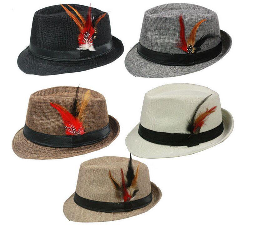 New Summer Trilby Fedora Hats Straw with Feather for Mens Fashion Jazz Panama Beach hat 10pcs/lot