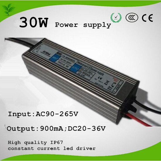 جودة عالية 30 واط امدادات الطاقة ل cob الصمام رقاقة. AC85-264V ، 0.900A ، 30-36 فولت للماء 50000 ساعة عمر 2 سنوات الضمان شحن مجاني