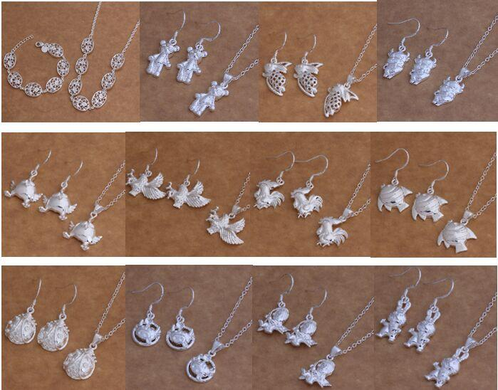 Free Shipping with tracking number New Fashion women's charming jewelry 925 silver 12 mix jewelry set 1448