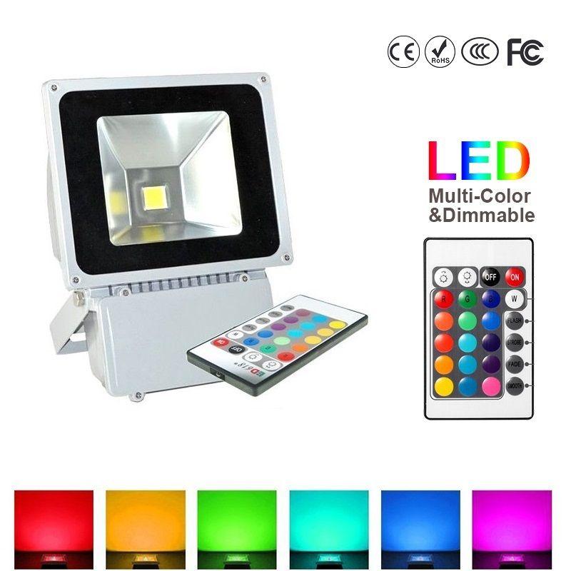 100 W impermeable al aire libre IP65 LED Luz de inundación RGB Cambio de color Lámpara de arandela de pared Iluminación LED + 24Key IR Mando a distancia