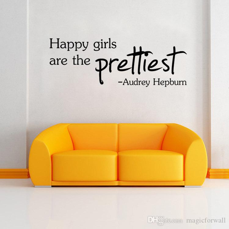 HAPPY GIRLS ARE THE PRETTIEST PVC Word Quote Wall Decal Audrey Hepburn Decor Wall stickers lettering