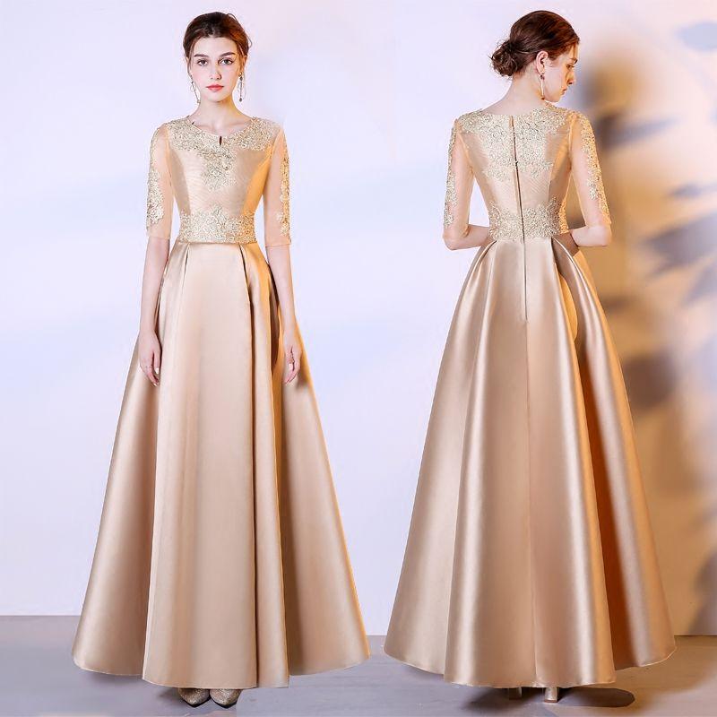 Gold Jewel Neck Satin Evening Dresses With