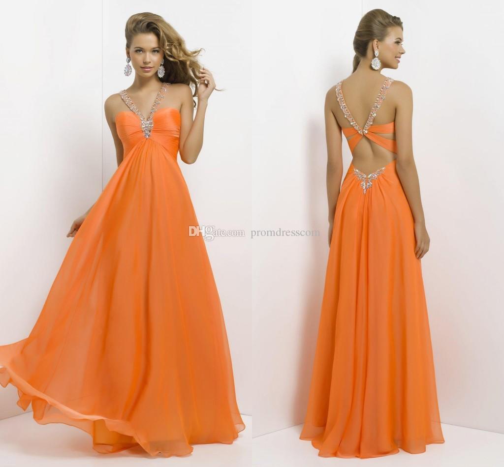 großhandel günstige lange chiffon abendkleid 2015 heiße verkaufs halter  orange perlen strass bodenlangen langes abendkleid formales abschlussball
