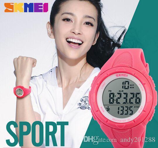 Pedometer 3D Sport Watches PU Strap Waterproof 50m Chrono Alarm Wrist Watch 1108
