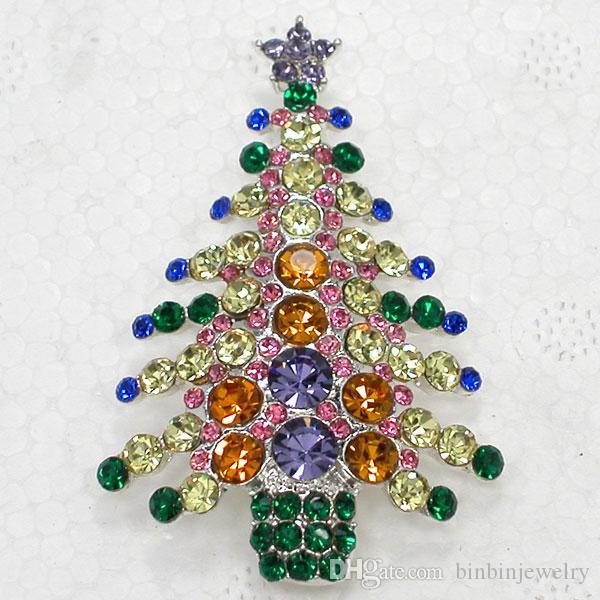 Schöne Kristallrhinestone-Weihnachtsbaum Pin Brosche Weihnachtsgeschenke Broschen C680