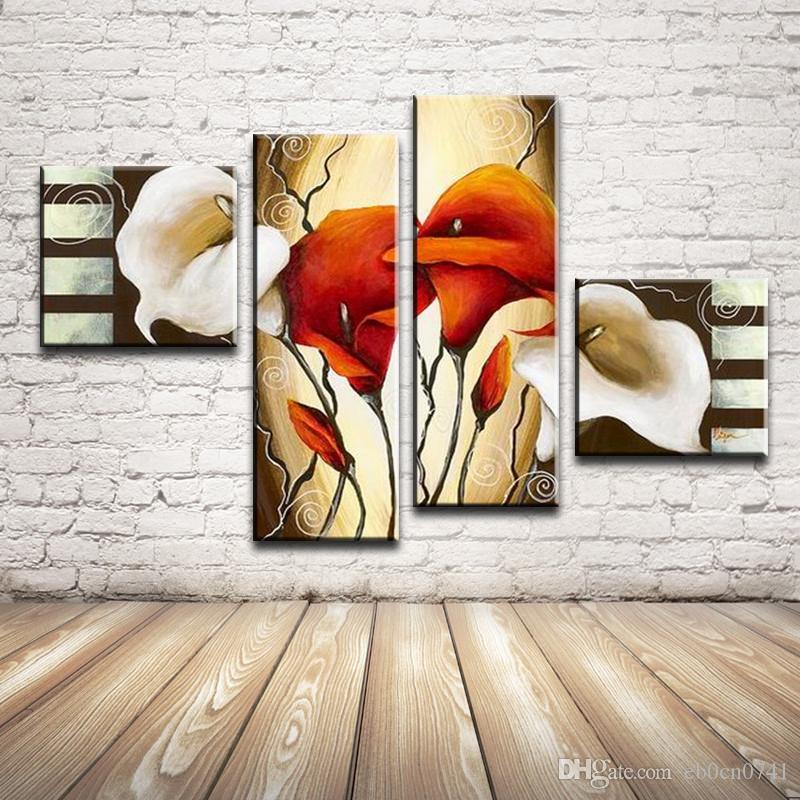 100% handbemalt 4 teile / satz Ölgemälde Auf Leinwand Bild Home Decor Bilder Auf Der Wand Kunst Dekoration Malerei