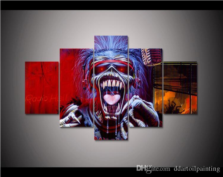 Iron Maiden LARGE 60x32 Inches 5Panels Art Canvas Print Iron Maiden Posters Wall Home Decor interior (No Frame)