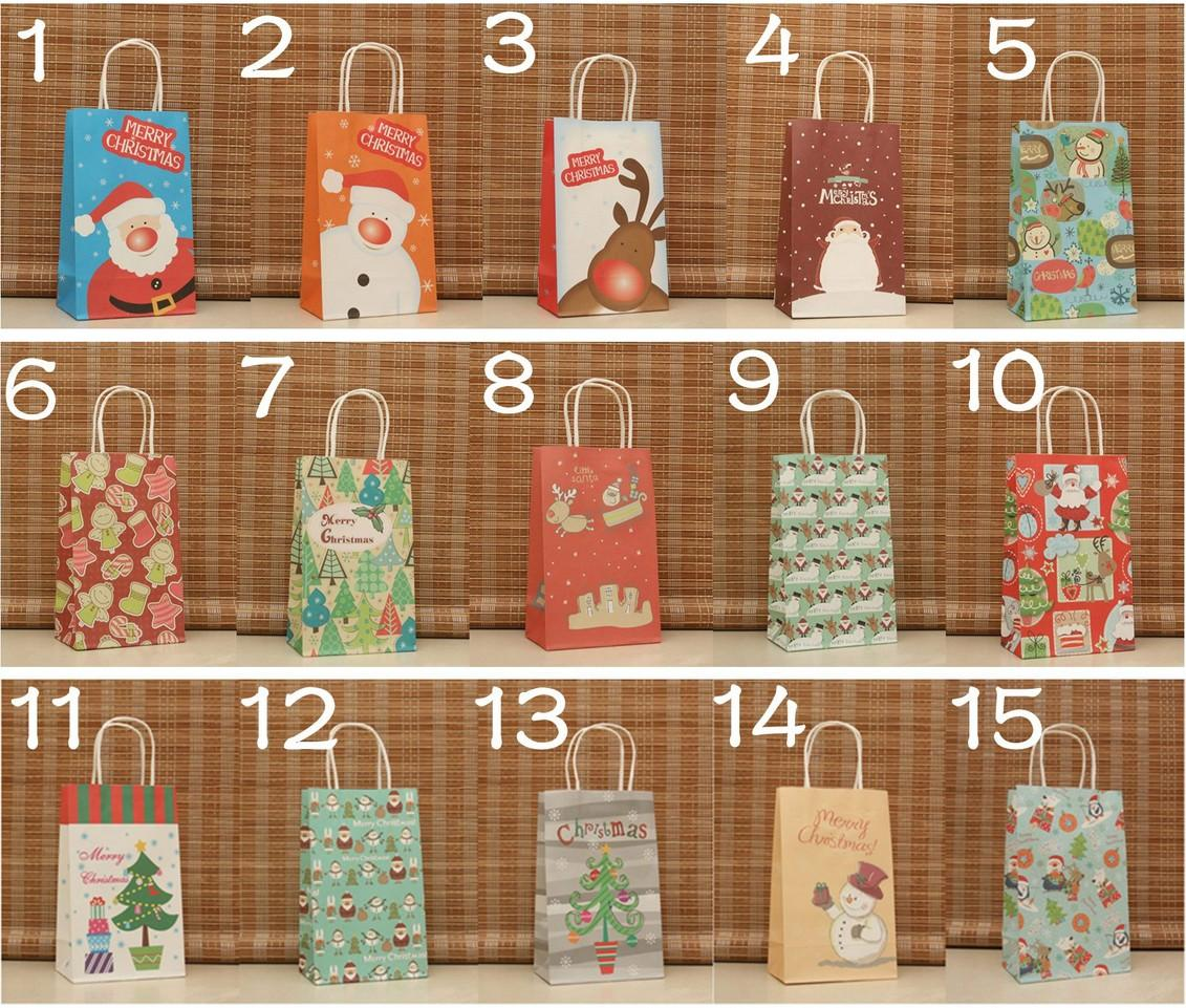 14 Design Paper Gift Bag for Christmas Gift Recyclable Kraft Bag Party Supplies 30pcs/lot WS002