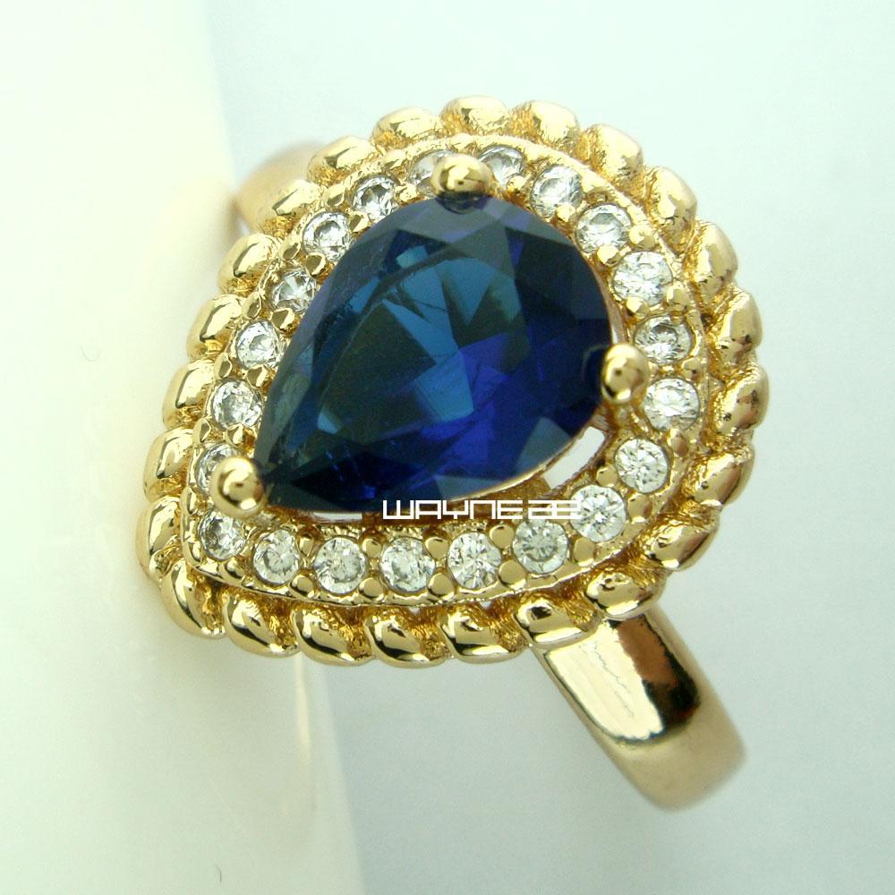 Ювелирные Изделия Sz7-8 Нежный Синий Сапфир 18 К Позолоченное Кольцо Для Женщин R270