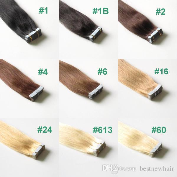 """9 kolorów 100g 40 sztuk Wiele taśm 16 """"do 24"""" w skórze Wątek przedłużania włosów Remy Taśma w brazylijskich rozszerzeń włosów, mieszanki kolor"""