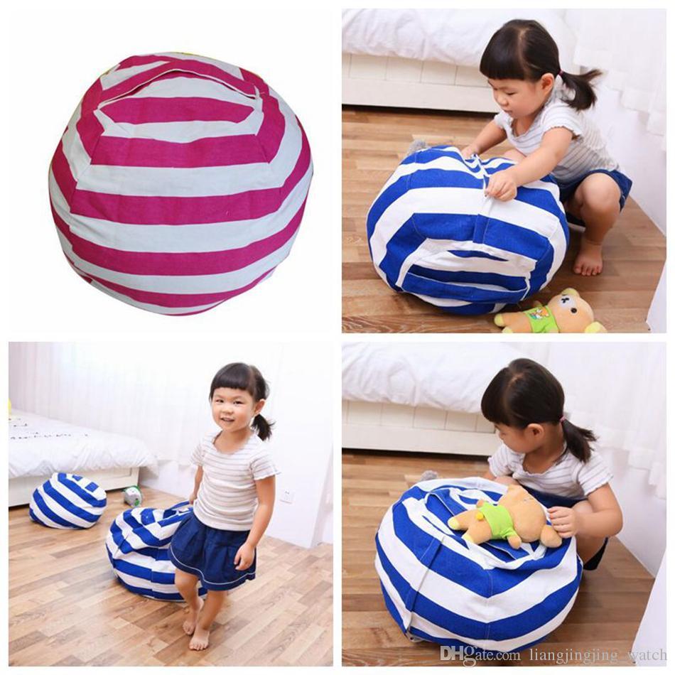 63cm Kids Storage Bean Bags Plush Toys Beanbag Chair Bedroom Stuffed Animal Room Mats Portable Clothes Storage Bag 4 Colors OOA3524