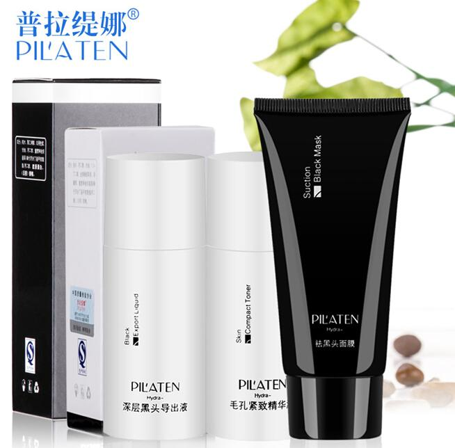 100 sets acné eliminación PILATEN 3 unids Conjunto cabeza negro exportación líquido + máscara de barro negro + tóner compacto anti-acné reducir la piel suave poros