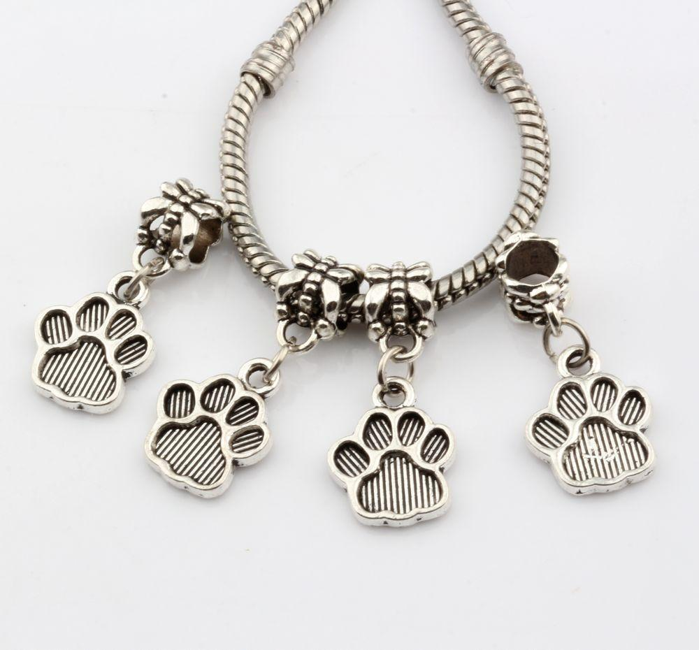 Hot Sales ! 200pcs Antique Silver Tone Paw Print Dangle Beads Fit Charm Bracelets DIY Jewelry 12x27mm