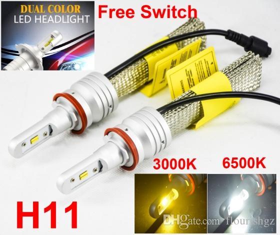 1 세트 H8 H9 H11 60W 8000LM S5 LED 헤드 라이트 키트 LUMI ZES 칩 듀얼 컬러 3000K 골든 옐로우 + 6500K 화이트 프리 스위치 팬 없음 변경 가능