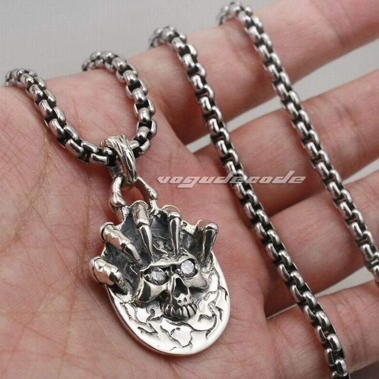92.5% стерлингового серебра Коготь череп мужской байкер рокер панк кулон 8C007(ожерелье 24 дюйма)