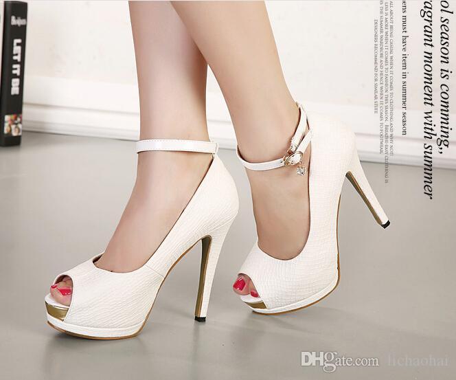 97e2043f1 Elegante pulseira de tornozelo branco de salto de noiva bombas de sapatos  de mulheres