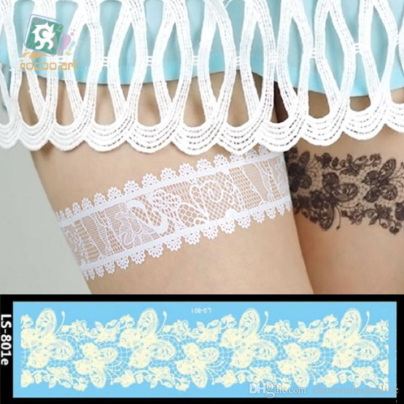 21 cm Temporäre gefälschte tattoos Wasserdichte tattoo aufkleber body art Malerei für party dekoration etc gemischt weiße spitze gnade