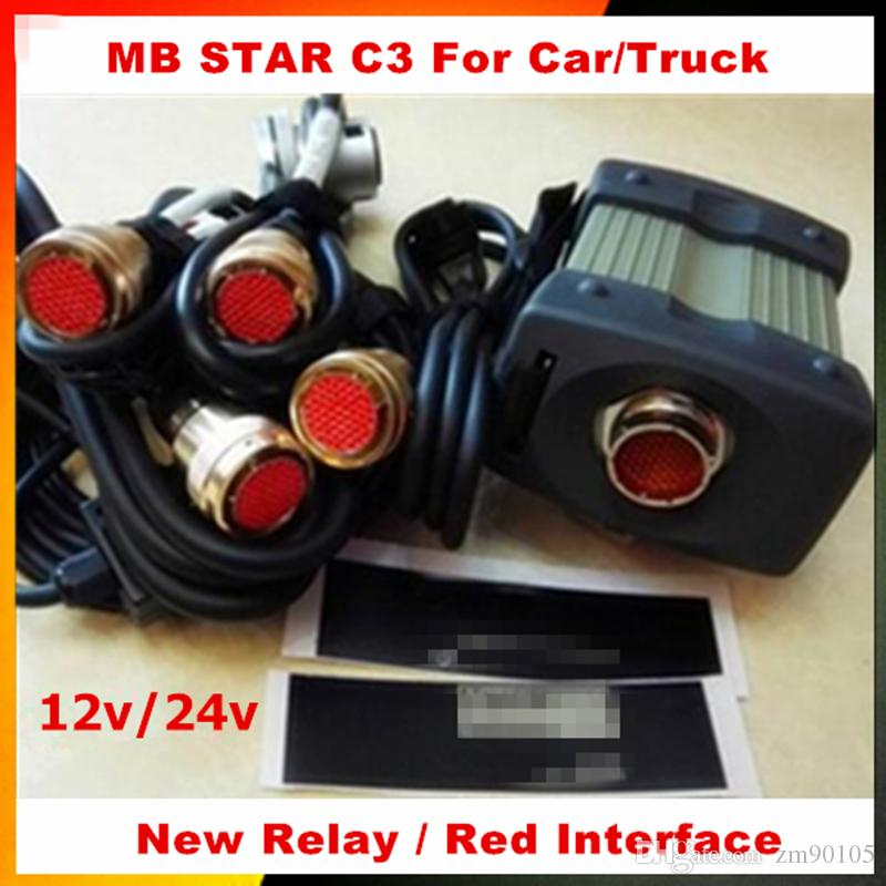 Menor Preço 12/24 v MB Estrela C3 Com 5 Cabos ferramenta de Diagnóstico Auto MB C3 sem HDD estrela c3 Para Analisador de Motor multi-idioma
