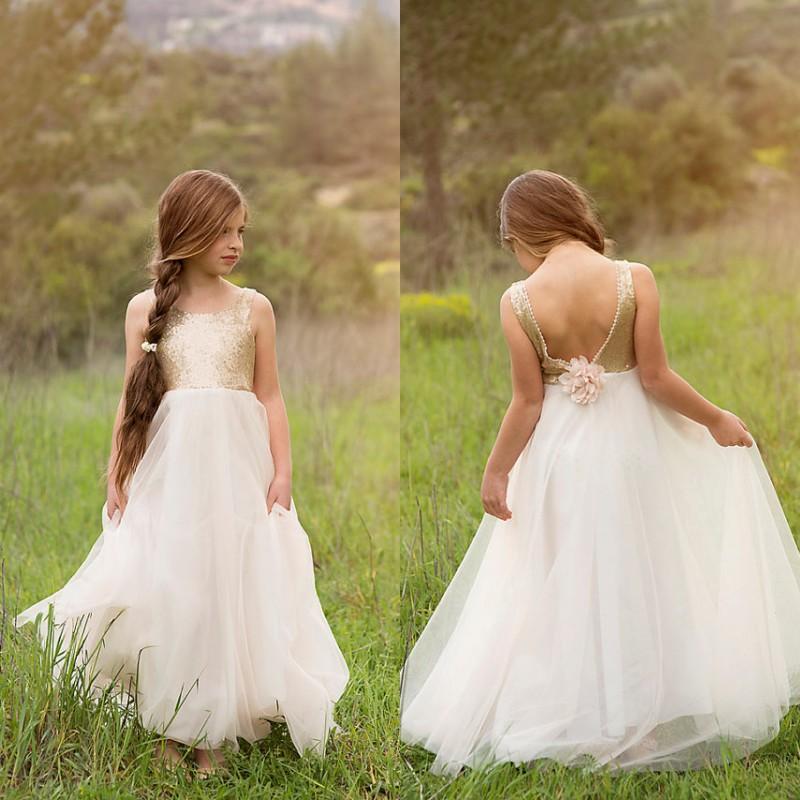 Adorável flor menina vestido para casamentos à noite vestidos de festa de ouro lantejoulas corpete flor artesanal sem encosto até o chão crianças desgaste formal