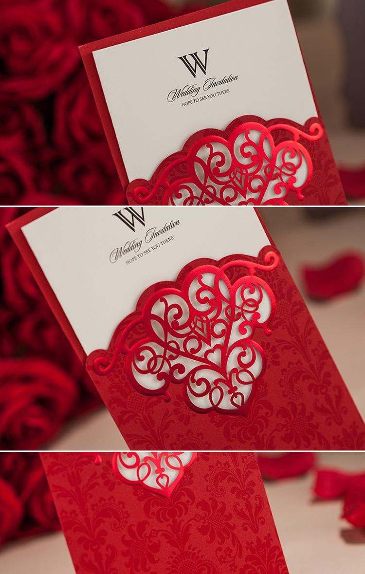 Wholesale Floral Hollow Wedding Invitation Cards Red Gold Purple ...