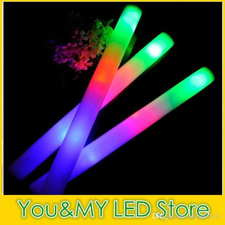 Edison2011 50pcs / lot LED 거품 스틱 다채로운 깜박이는 opp 가방 축제 파티 장식 콘서트 소품 바와 함께 48cm 라이트 업 스틱