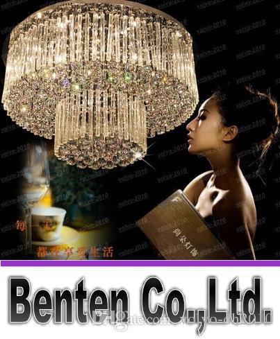 무료 배송 2 층 크리스탈 램프 Dia800 * H360mm 크리스탈 현대 샹들리에 호텔 로비 조명 LLFA1036 크리스탈 조명