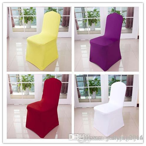 도매 유니버설 화이트 색상 의자가 결혼식 연회 의자를 들어 스판덱스 커버 호텔 장식 장식 무료 배송 커버