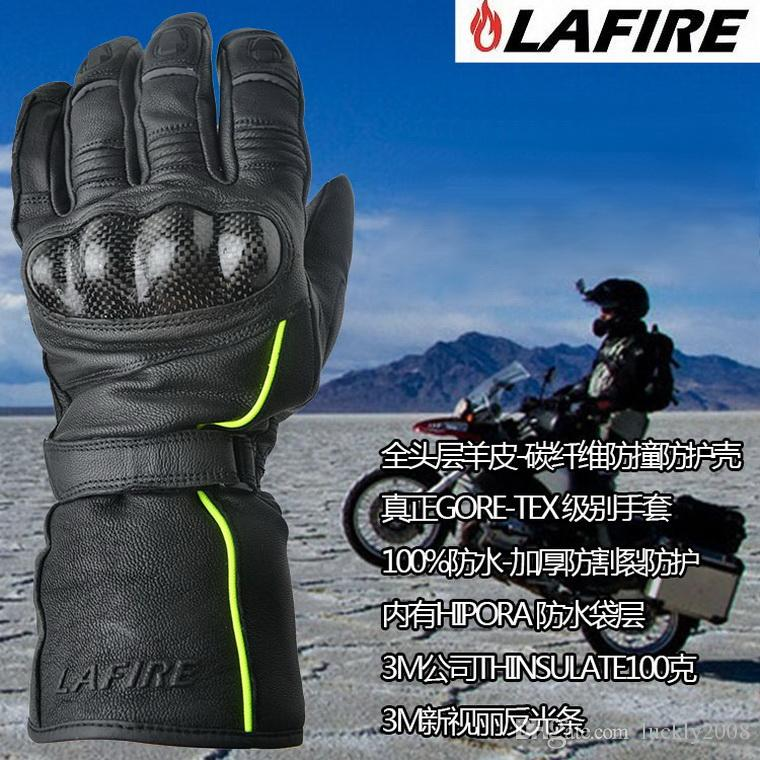 2016 New LAFIRE ELITE carbon fiber full leather 100% waterproof motorcycle gloves keep warm cold-proof MOTO riding Glove can touchscreen