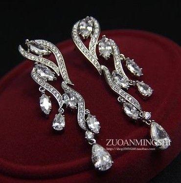 Crystal Gemstone Tassels Lady's Earings ((5.3 * 1.2cm) (GGHHJJJJ) HHJ