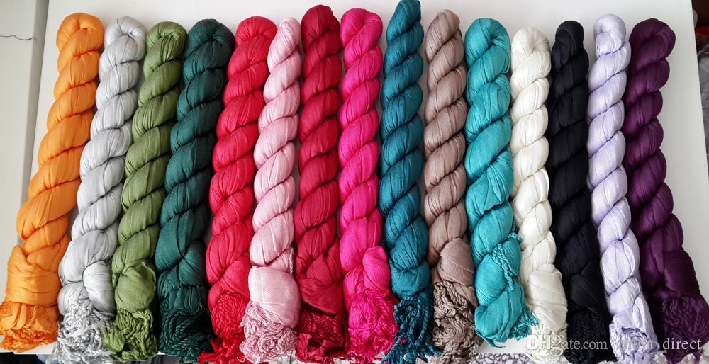 Dam Bomull Vanlig Färg Neck Scarf Solid Färgkvarter Ponchos Wrap Scarves Sjalar 22st / Lot # 1747