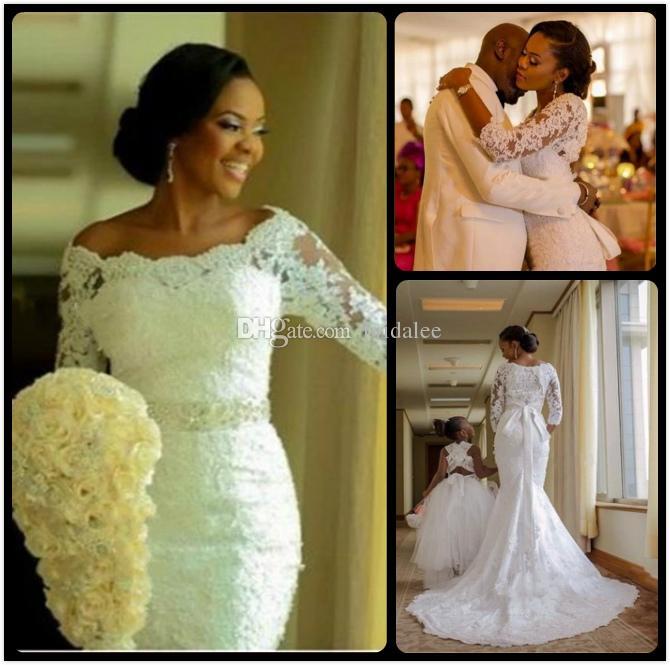 2019 nieuwe mode Nigeriaanse 3/4 lange mouw applique kant zeemeermin trouwjurken met kristallen van de schouder bruidsjurk
