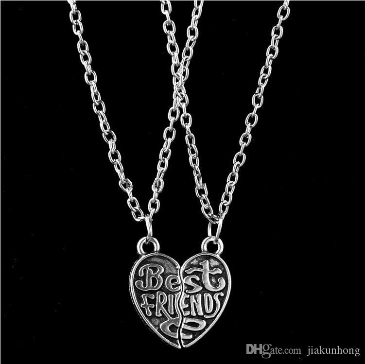 Wholesale letter best friend heart broken pendant necklace for women letter best friend heart broken pendant necklace for women men personalized jewelry fashion antique silver plated aloadofball Choice Image