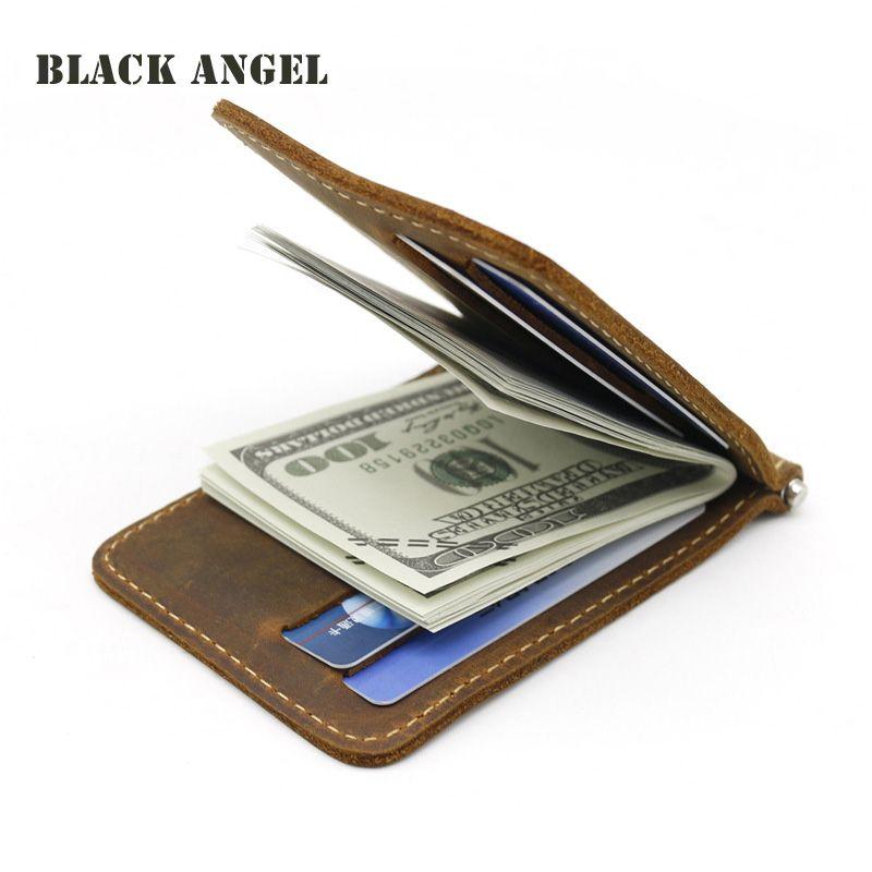 Мужчины Деньги Клипы Бумажник Натуральная Кожа 2 Сложить Открыть Зажим Для Денег Держатель Карты Id Case Cash Clip Кошелек
