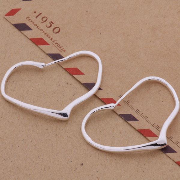 Мода (производитель ювелирных изделий) 40 шт. много большой кривой сердце серьги стерлингового серебра 925 ювелирные изделия завод цена мода блеск серьги
