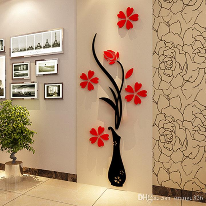 Wall Stickers Acrylic 3D Plum Flower Vase Stickers Vinyl Art DIY Home Decor Wall Decal Red Floral Wall Sticker Colors
