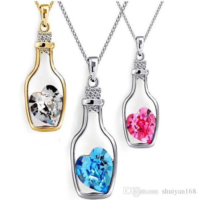 Garrafas Declaração de amor de cristal Colares do Cheap Diamante Alloy Colar Sweater Colar Locket Jóias Presente de Natal Moda