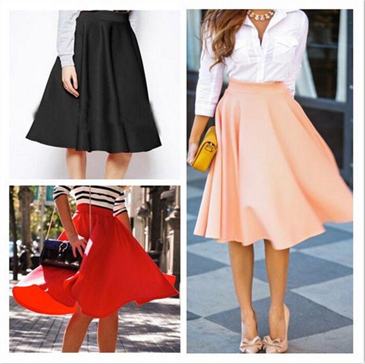 Summer Autumn Women Casual Skirts 2016 New Fashion Elegant Solid High Waist Slim Pleated A-line Bust Skirt Hot Sale Womens Midi Skirt