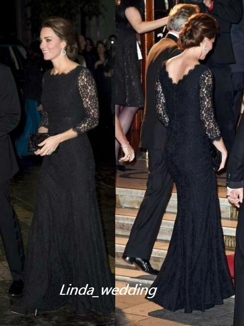 Free Shipping Kate Middleton Trumpet Mermaid Black Colour 3/4 Sleeves Lace Floor length Scoop Long Evening Dresses