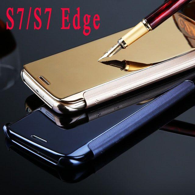 S7 / S7 Edge Роскошный прозрачный вид Зеркальный экран флип кожаный чехол для Samsung Galaxy S7 / S7 Edge Сумки для телефонов Обложка Кожа