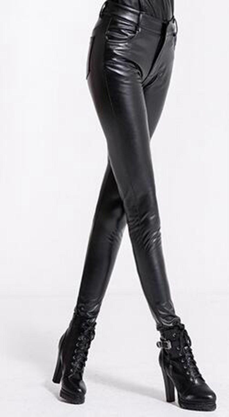 VROUWEN EN WINTER IN EUROPA EN DE NIEUWE KWALITEIT GOEDEREN Dichte modeshow Tall Taille Rits voet Render lederen broek. S - 3XL